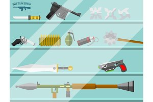 Weapon storefront banner choosing gun and shooting at charges revolver decorative military business advertising shop vector illustration