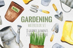 Gardening. Watercolor set