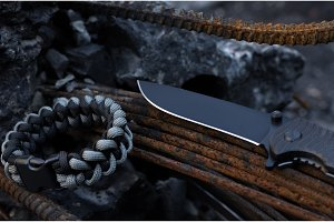 A close-up of a knife. Close-up of a blade. Blade at an angle.