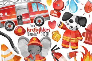 Watercolor Firefighter Clipart