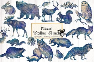 Celestial Woodland Animals Clipart
