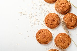 Oatmeal cookies with oat flakes