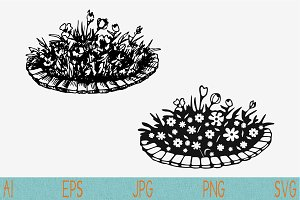 flowerbed set vector svg png eps