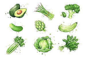 Selection of green foods, watercolor