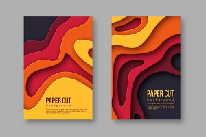 3d paper cut vertical banners. Shapes with shadow in Autumn colors - yellow, orange, burgundy and violet. Design for decoration, business presentation, posters, flyers, prints, vector.