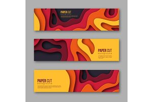 3d paper cut horizontal banners. Shapes with shadow in Autumn colors - yellow, orange, burgundy and violet. Design for decoration, business presentation, posters, flyers, prints, vector.