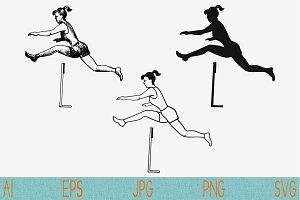jumping hurdles set vector svg png