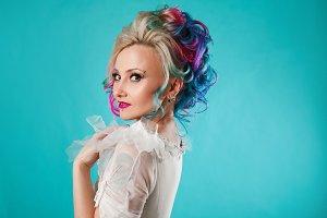 Beautiful woman with creative hair