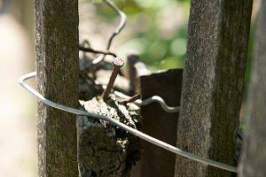 Old broken wooden fence