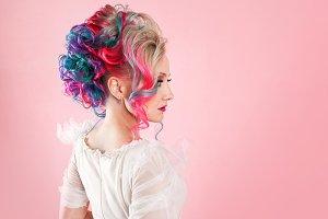 Creative hair coloring. Multi-color
