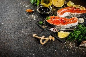 Raw salmon fish steaks
