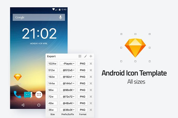 android icon template all sizes icons creative market