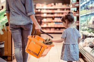 Mom and daughter are shopping