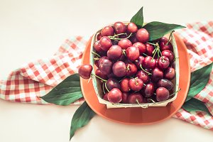 cherry in a small basket