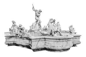 Neptuno Fountain Isolated on White Background