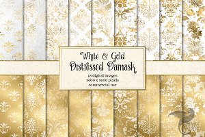 White and Gold Damask Textures