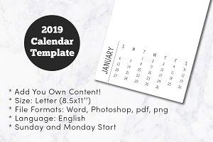 2019 Minimal Calendar Template