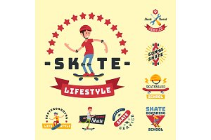 Skateboarders people tricks silhouettes sport badge extreme action active skateboarding urban young jump person vector illustration.
