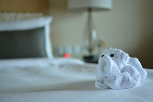 Folded bath towel