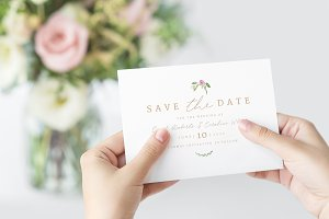 Greenery Save the Date Invite PSD