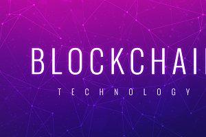 Blockchain technology futuristic ultraviolet hud banner.