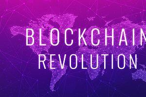 Blockchain revolution futuristic ultraviolet hud banner.