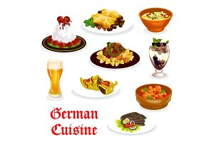 German cuisine traditional food for lunch icon