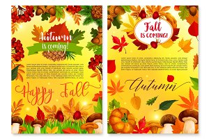 Autumn fall seasonal nature vector greeting card