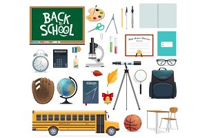 Back to school icon of education supplies and item