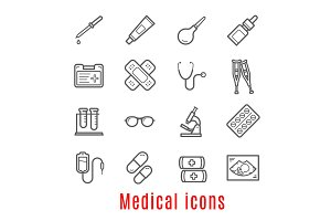 Medical thin line icon for medicine and healthcare