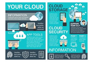 Business cloud computing flat poster design