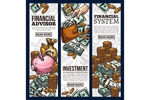 Finance and investment business banner with money