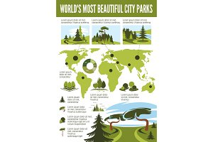 Landscape design infographic with city park map