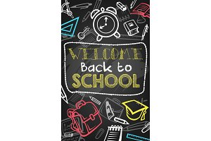 Back to school chalk sketch banner on blackboard
