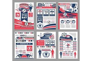 Football or soccer sport game match poster design
