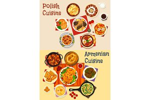 Polish and Armenian cuisine dinner menu icon