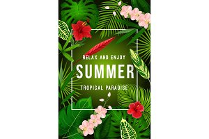 Summer tropical palm leaf and exotic flower banner