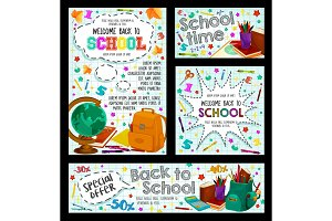 Back to school poster for education, sale design