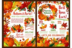 Autumn harvest pumpkin, fruit sale vector poster