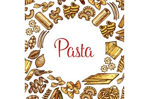 Pasta poster with frame of italian macaroni sketch