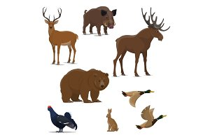 Wild forest animal and bird icon of hunting sport