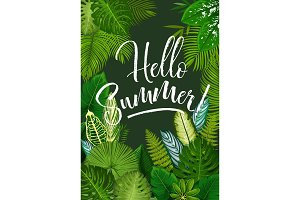 Summer tropical poster with green leaf of palm