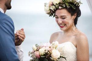 Bride & groom in a wedding ceremony
