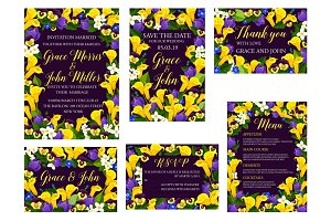 Wedding floral banner for invitation template