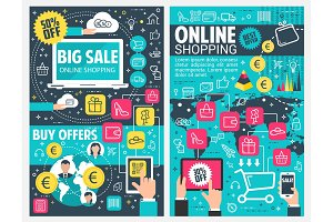 Online shopping banner of web business technology