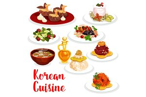 Korean cuisine restaurant lunch icon of asian food