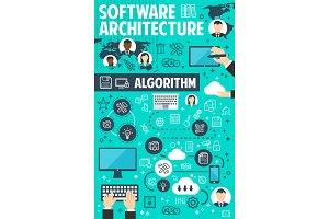 Software architecture banner of network technology