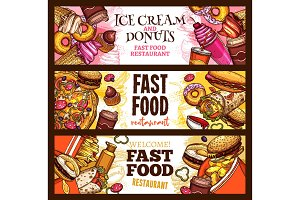 Fast food burger restaurant menu banner design