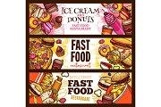 Fast food burger restaurant menu banner design