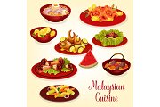 Malaysian cuisine icon of meat and seafood dish